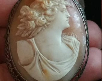 Antique Edwardian Sterling Silver Carved Shell Cameo