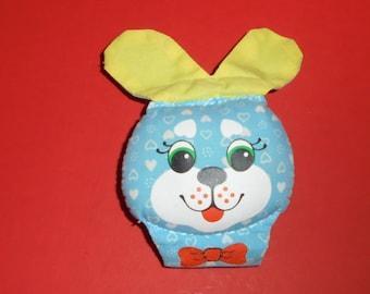 Vintage 1983 Playskool Blue Bunny Rabbit Jingle Rattle Wrist Toy Vintage Baby Toy Wrist Jingles #66 ~ 1980's Toy