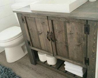 Rustic Custom Vanity Bathroom, Powder Room Sherlock