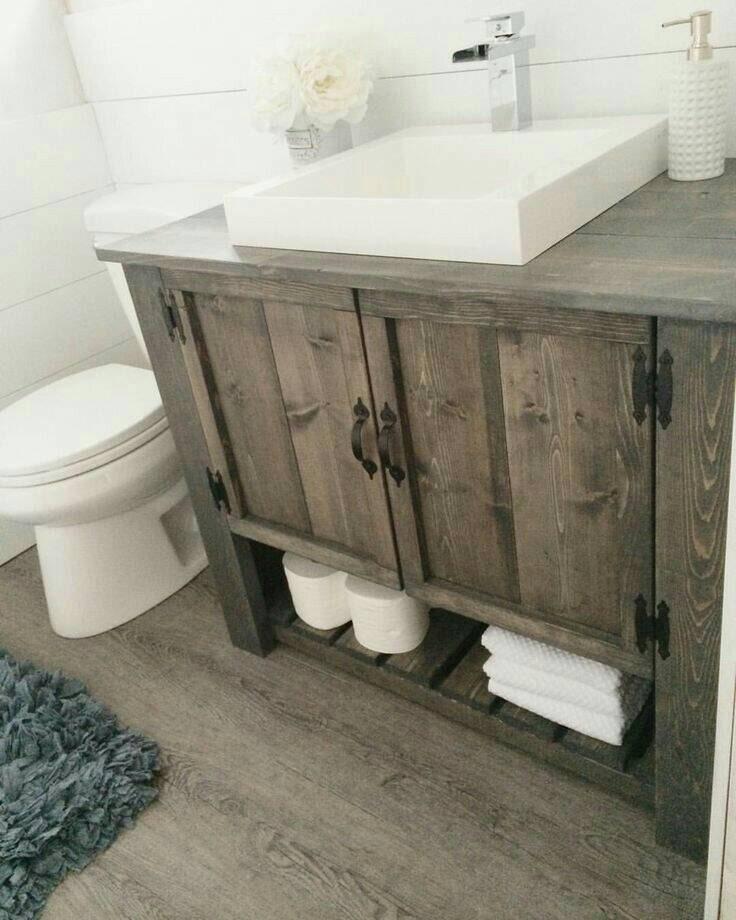 rustic custom vanity bathroom powder room sherlock