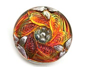 27mm Topaz Czech Glass Button, Silver Floral ornament, Iridescent Topaz Handmade Button bead, size 12, 1pc - 2254