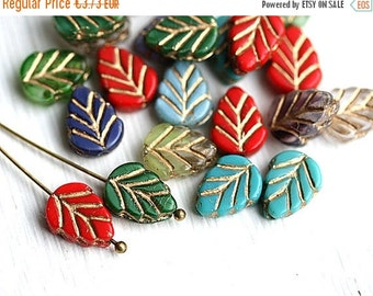 ON SALE Leaf beads mix, Fall colors, Czech glass leaves, golden inlays, Red, Green, Blue, glass leaf - 11x8mm - 12Pc - 1306