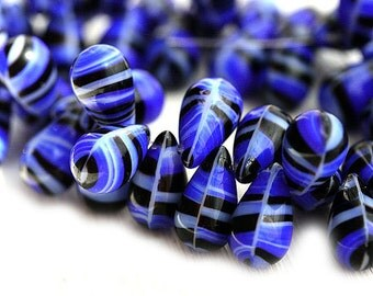Striped Blue Teardrops, Dark Blue large drops, czech beads, Briolettes, Blue and Black beads - 14x9mm - 8Pc - 1157