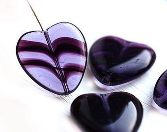 Huge Purple heart beads, Extra Large czech glass hearts, big focal beads - 24x22mm - 3Pc - 2515