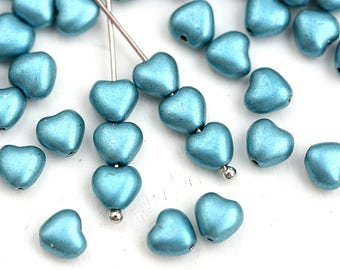 6mm Metallic Blue Heart beads, Blue coated Czech Glass pressed beads - 50pc - 0197