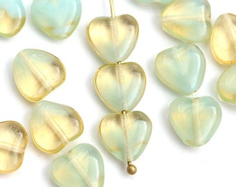 10mm Amber Yellow Heart beads, Mixed Amber Yellow and Blue czech glass pressed beads, 20Pc - 3014