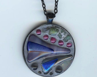 Jewelry, Mosaic/Construction, Abstract Pendant Necklace