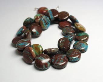 "Paisley Jasper Brown & Turquoise Coin Beads, 12mm Natural Gemstone Paisley Jasper Beads, 13 3/4"" Strand - 29 Beads"