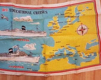 B-I Educational Cruises, Linen Souvenir Tea Towel