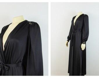 Vintage Robe Olga Black Nylon Satin & Lace Dressing Gown Peignoir Size Small