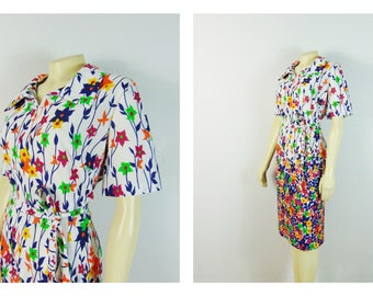 Vintage Dress 60s 70s Mad Men Day Dress White Floral Print Short Sleeves Spring Summer Dress Plus Size XXL 2X