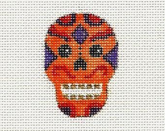 Hand Painted Halloween Needlepoint Canvas - Orange Skull