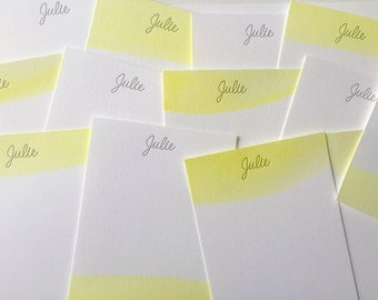 Personalized letterpress note cards / 36 cards with watercolor wash  / custom letterpress notecards / DeLuce Design