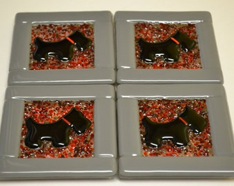 Scottie Dog Fused Glass Coasters
