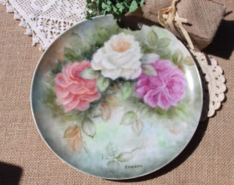 Hand painted large plate with roses shabby chic cottage chicromantic tea party bridal shower  hand painted roses