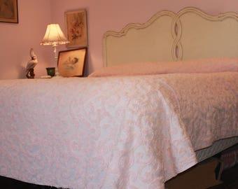 Pink Chenille Bedspread Queen 102 x 118