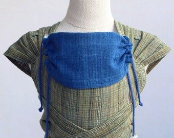 BaBy SaBye Wrap Mei Tai sling hand-woven two-side with a hood STANDART size model32 GreenMulticolorStrips/Indigo