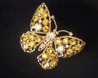 Gold & Topaz Large Round Rhinestones Open Work 1950's Vintage Hollywood Glamour Costume Jewelry Butterfly Mid Century Brooch Gift For Her