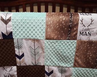 Deer Baby Blanket - Little Man Antlers, Deer Skin Minky, Mint Tan Fletching Arrow, Mint Minky, and Brown Minky Patchwork Baby Blanket