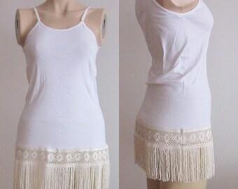 Ivory Lace Camisole Shirt Extender Ivory Dress Extenders, Top Extender, Lace Shirt Extender, Top Extenders, Women's Slips, cotton Plus Sizes