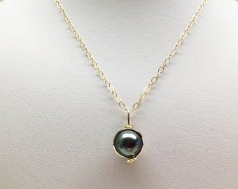 Wire Wrapped Dark Grey Pearl Gold Pendant Necklace