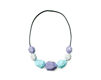 Wooden Gem Beads Necklace - Orchid
