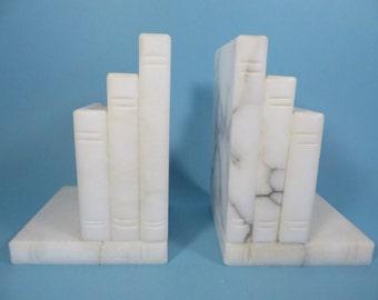 Vintage Marble Alabaster Bookends - Vintage Marble Bookends