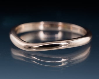 Fitted Contoured Shadow Wedding Band in Rose Gold, Palladium, Platinum or White & Yellow Gold- Alternative Wedding Ring Notched Shadow Band
