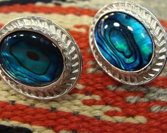 teal blue green BUTLER VINTAGE EARRINGS pierced shell silvertone