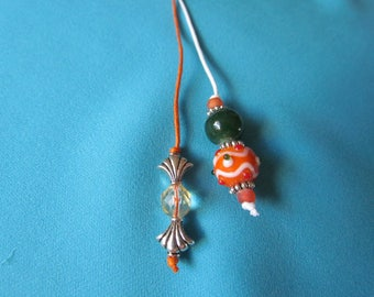 Pair of Thong Style Beaded Bookmarks Orange, Dark Green, White, Silver