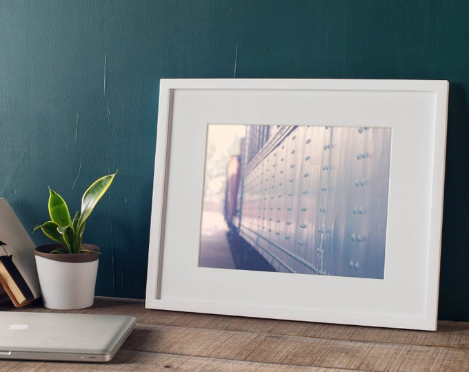 Romantic Travel Photograph, Train Travel Decor, Blue Minimal Wall Decor - 5 sizes available
