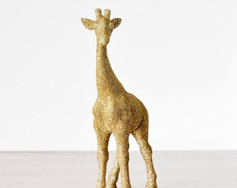 Safari Mama Giraffe Gold Glitter Critter for Jungle Baby Showers, Cake Topper, Nursery Decor, Great for Wedding Decorations, Centerpieces