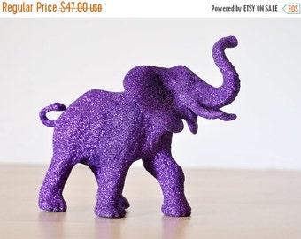 Purple Elephant Glitter Critter for Birthdays, Jungle Baby Showers, African Safari Nursery Decor, Wedding Decorations, Cake Topper, etc