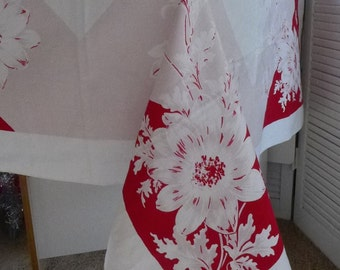 Vintage Tablecloth red mauve floral barkcloth table cloth 40s 50s large floral Retro Square Kitchen Tablecloth