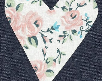 Peach Rose/Floral Heart Fabric Iron on Appliques ~ No Sew