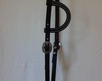 West Coast Tack Hermann Oak Black Harness Leather One Ear Headstall Jeremiah Watt Buckles Conchos Horse Tack