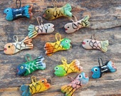 Hand Painted Fish Charms  ~  Hand Painted Paper Mache Fish Charms  ~  Hand Painted Fish Pendants  ~  Small Fish Charms  ~  Paper Mache Fish