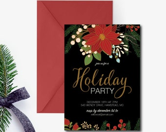 Christmas  Party Invitation, Holiday Engagement Party Invitation, Holly Leaves, Celebrate the Season, Company Party Invite