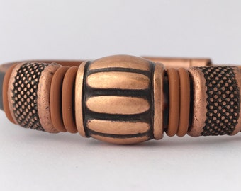 Mens Copper Bracelet - Leather Cuff mens - Beaded Bracelet - Gift for Him - Mens Bracelet Metal - Rustic Cuff - Brown Leather Cuff