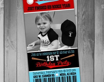 Baseball Birthday Invitation Baseball Party Baseball Ticket Invitation Boy 1st Birthday Boy First Birthday Party Invitation Baseball Invite