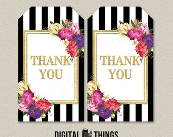 Printable Faux Gold Foil Floral Thank You Favor Tags Stickers Labels Gift Tags. Printable Party Decor Decorations Collage Sheet DT1949
