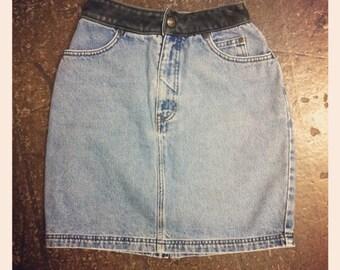 Harley Davidson Denim Skirt w/ Leather Detail
