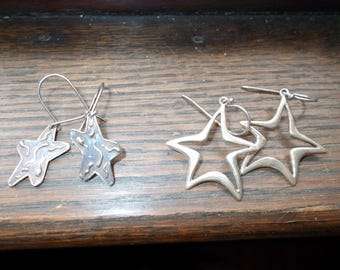 2 pairs of sterling silver star earrings