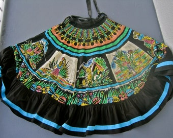 Mexican Sequin Circle Skirt 50s Frida Kahlo Day of the Dead Folk Costume Scenic Bright Colorful MIDI Altered Added Ruffle for Length