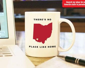 Ohio OH Coffee Mug Cup, No Place Like Home, Gift Present, Wedding Anniversary, Personalized Color, Custom Location  Cincinnati, Cleveland