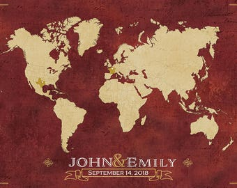 World Map, Wedding Guest Map, Wedding Guest Book Alternative, Wedding Centerpiece, Wedding Guest Book, Custom Map, Hereandthereshop