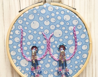 Tiny Bubbles Burlesque Boob Embroidery- light blue- lavender