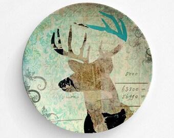 Woodland Deer Melamine Plate, Melamine Plate, woodland deer, decorative plate, Dinner Plate, Serving Plate