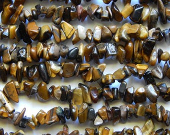 Golden Brown Tiger's Eye Beads - 5X8mm Tiger's Eye Polished Gemstone Chip Beads, 36 Inch Strand (INDOC74)