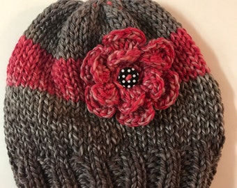 Toddler beanie with large flower